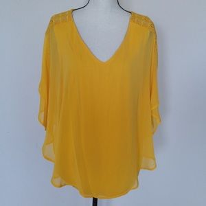 I. N. Studio Woman Mustard  Poncho Top